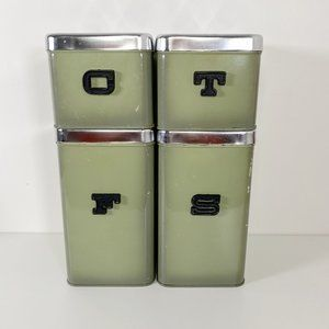 Vintage Avocado Green Tin Stacking Canister Set